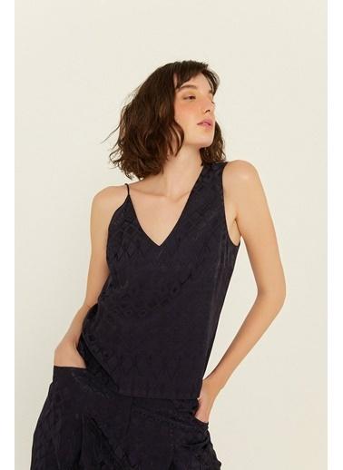 Rue Asimetrik Askılı Desenli Bluz Lacivert